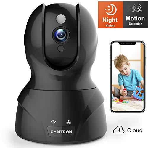 wlan ip kamerakamtron hd wifi berwachungskameramit 1 - KAMTRONWLAN IP Kamera HD WiFi Überwachungskamera,mit 350°/100°Schwenkbar,Home und Baby Monitor mit Bewegungserkennung, Zwei-Wege-Audio, Nachtsicht, unterstützt Fernalarm und Mobile App Kontrolle